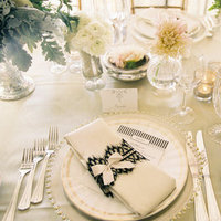 Flowers & Decor, Real Weddings, Wedding Style, ivory, black, Place Settings, West Coast Real Weddings, Classic Weddings, Classic Wedding Flowers & Decor, Table settings