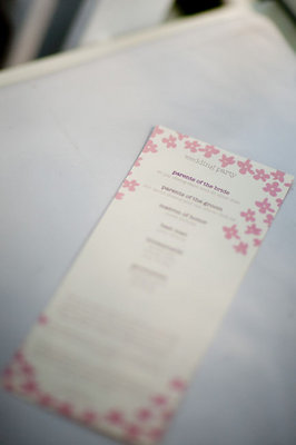 Stationery, Real Weddings, Wedding Style, pink, Ceremony Programs, Spring Weddings, West Coast Real Weddings, Garden Real Weddings, Spring Real Weddings, Garden Weddings