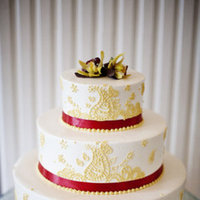 Cakes, Real Weddings, Wedding Style, red, Ribbon Wedding Cakes, Round Wedding Cakes, Vintage Wedding Cakes, Wedding Cakes, Midwest Real Weddings, Midwest Weddings