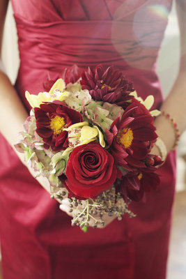 Flowers & Decor, Real Weddings, red, Bridesmaid Bouquets, Fall Weddings, Fall Real Weddings, Midwest Real Weddings, Fall Wedding Flowers & Decor, Vineyard Wedding Flowers & Decor, Winter Wedding Flowers & Decor