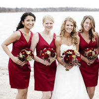 Flowers & Decor, Bridesmaid Dresses, Fashion, Real Weddings, red, Bridesmaid Bouquets, Midwest Real Weddings, minnesota weddings, minnesota real weddings