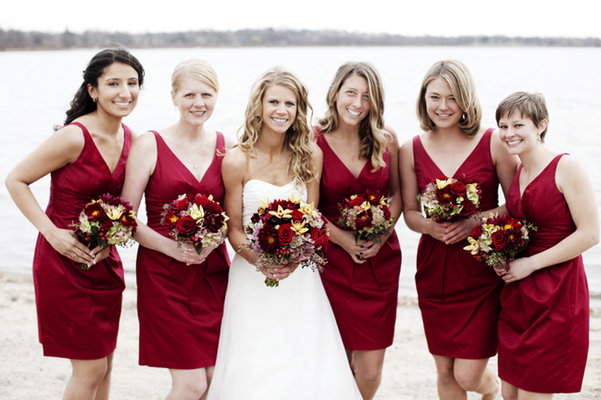 Flowers & Decor, Bridesmaid Dresses, Fashion, Real Weddings, red, Bridesmaid Bouquets, Midwest Real Weddings