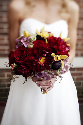 Flowers & Decor, Real Weddings, Wedding Style, red, Bride Bouquets, Fall Weddings, Fall Real Weddings, Midwest Real Weddings, Fall Wedding Flowers & Decor, Rustic Wedding Flowers & Decor, Vineyard Wedding Flowers & Decor