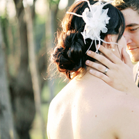 Beauty, Real Weddings, Updo, Feathers, Eco-Friendly, Romantic, Simple, Fresh, Light, Airy