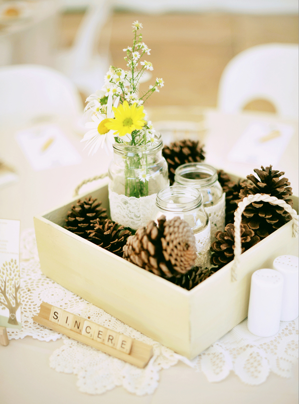 Flowers & Decor, Real Weddings, Centerpieces, Eco-Friendly, Rustic Wedding Flowers & Decor, Romantic, Simple, Fresh, Light, Wood, Scrabble, Mason jar, Airy, Pinecones