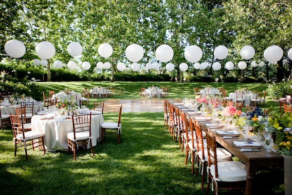 Reception, Flowers & Decor, Real Weddings, Outdoor, Spring Weddings, Summer Weddings, West Coast Real Weddings, Spring Real Weddings, Summer Real Weddings, Lanterns, Casual, Farm wedding, West Coast Weddings, Organic Real Weddings, Organic weddings, Farm Real Weddings