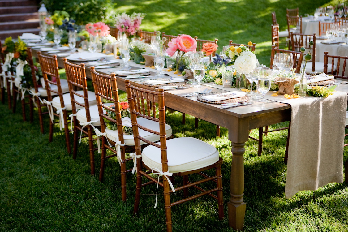 Reception, Flowers & Decor, Real Weddings, Wedding Style, Centerpieces, Outdoor, Spring Weddings, Summer Weddings, West Coast Real Weddings, Spring Real Weddings, Summer Real Weddings, Burlap, Casual, Farm wedding, West Coast Weddings, Organic Real Weddings, Organic weddings, Farm Real Weddings, farm style table