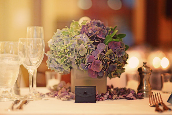Flowers & Decor, Real Weddings, Wedding Style, purple, Centerpieces, Modern Real Weddings, City Weddings, Modern Weddings, City Real Wedding