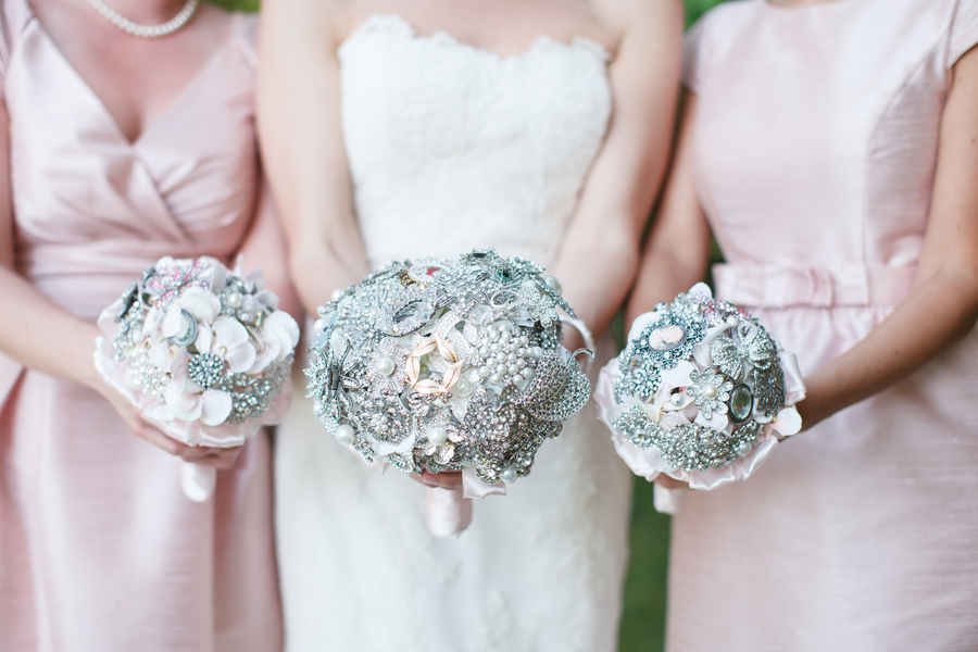 Flowers & Decor, Jewelry, Real Weddings, Wedding Style, pink, Brooches, Southern Real Weddings, Summer Weddings, Classic Real Weddings, Summer Real Weddings, Vineyard Real Weddings, Classic Weddings, Vineyard Weddings, Bridesmaids bouquets, brooch bouquets