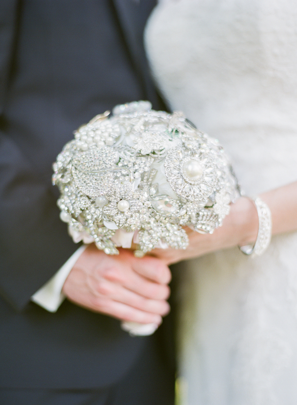 Flowers & Decor, Jewelry, Real Weddings, Wedding Style, gray, silver, Brooches, Bride Bouquets, Southern Real Weddings, Summer Weddings, Classic Real Weddings, Summer Real Weddings, Vineyard Real Weddings, Classic Weddings, Vineyard Weddings, brooch bouquets