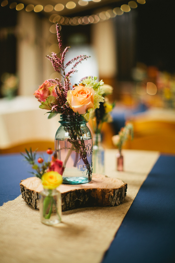 Flowers & Decor, Real Weddings, blue, Centerpieces, Fall Weddings, Rustic Real Weddings, Fall Real Weddings, Rustic Weddings, Lds wedding, Diy flowers, Log, Mason jars, LDS Real WEdding, Autumn Real Wedding, Autumn Weddings, DIY Real Weddings, DIY Weddings