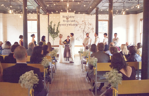 Ceremony, Flowers & Decor, Real Weddings, Aisle Decor, West Coast Real Weddings, Eco-Friendly Real Weddings, Vintage Real Weddings, Eco-Friendly Weddings, Vintage Weddings, String lights, West Coast Weddings, DIY Real Weddings, DIY Weddings, Artsy Real Weddings, Artsy Wedding