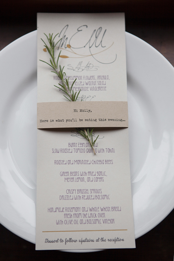 Reception, Stationery, Real Weddings, West Coast Real Weddings, Eco-Friendly Real Weddings, Vintage Real Weddings, Eco-Friendly Weddings, Vintage Weddings, Menu, Rosemary, West Coast Weddings, DIY Real Weddings, DIY Weddings, Artsy Real Weddings, Artsy Wedding