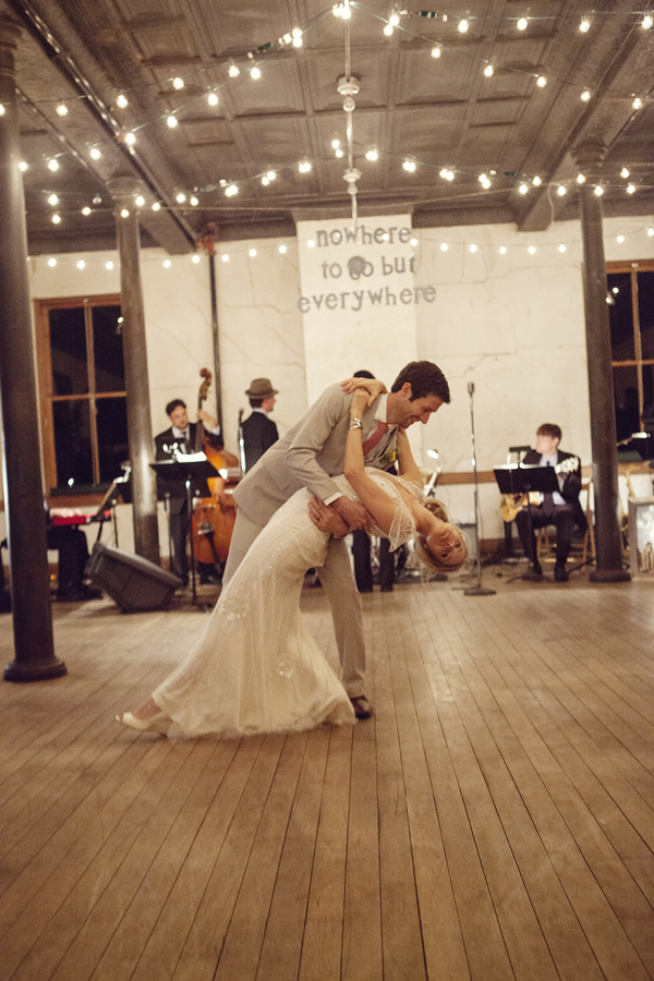 Reception, Real Weddings, West Coast Real Weddings, Eco-Friendly Real Weddings, Vintage Real Weddings, Eco-Friendly Weddings, Vintage Weddings, First dance, String lights, West Coast Weddings, DIY Real Weddings, DIY Weddings, Artsy Real Weddings, Artsy Wedding