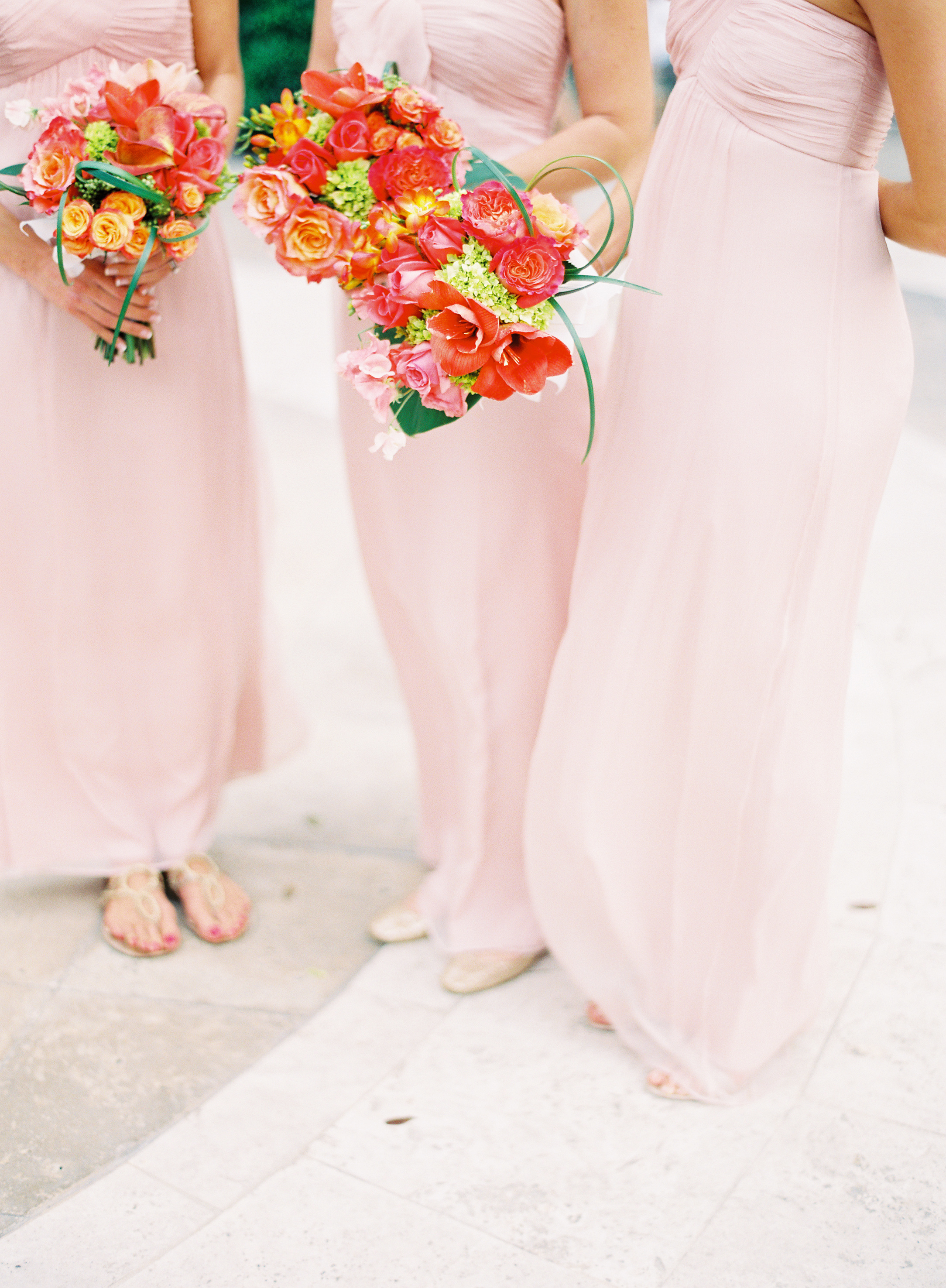 Flowers & Decor, Bridesmaids Dresses, Real Weddings, orange, pink, Classic, Elegant, Florida, Fuchsia, bright pink