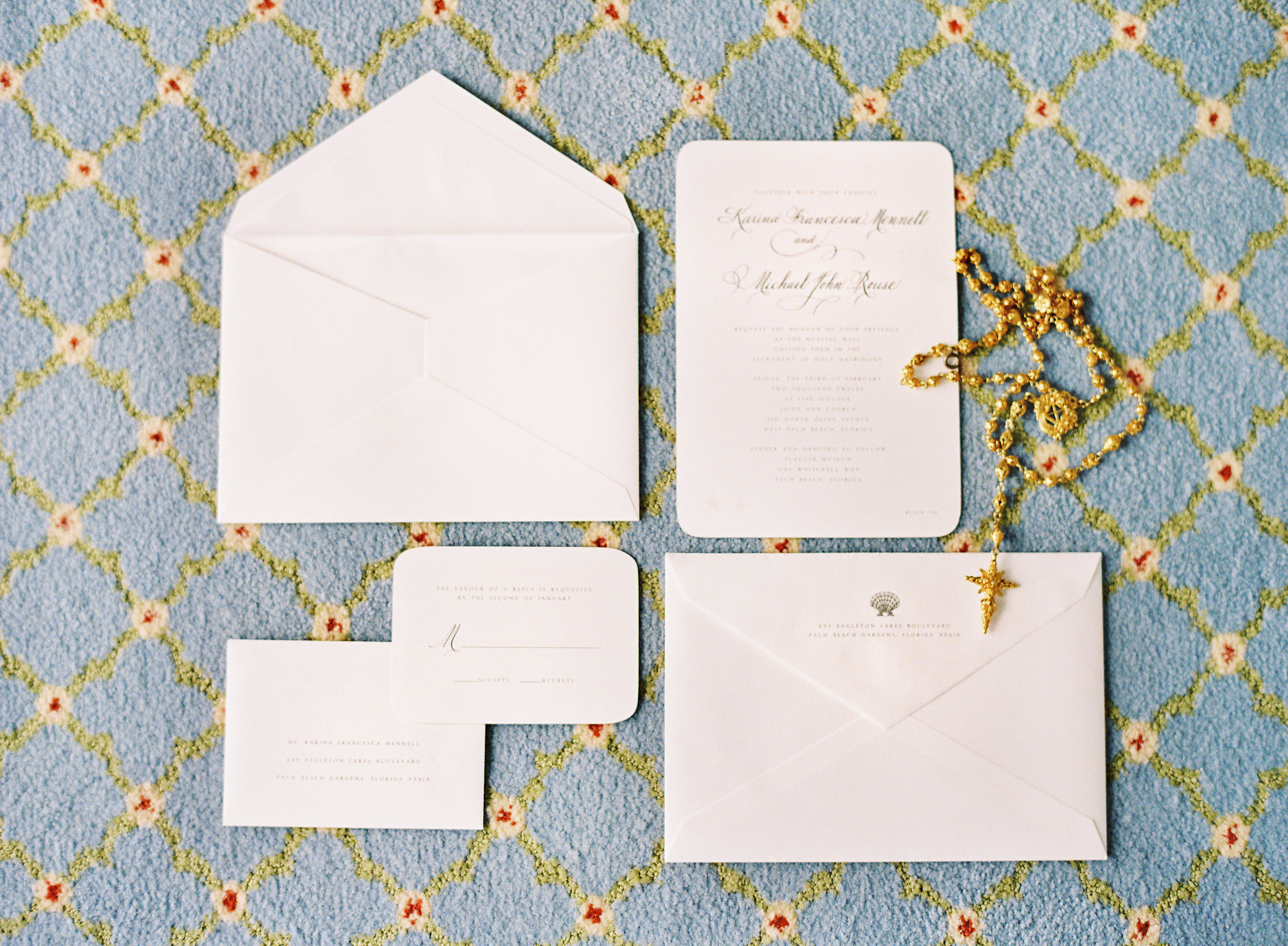 Stationery, Real Weddings, Classic, Classic Wedding Invitations, Glam Wedding Invitations, Vintage Wedding Invitations, Invitations, Elegant, Florida, Rosary