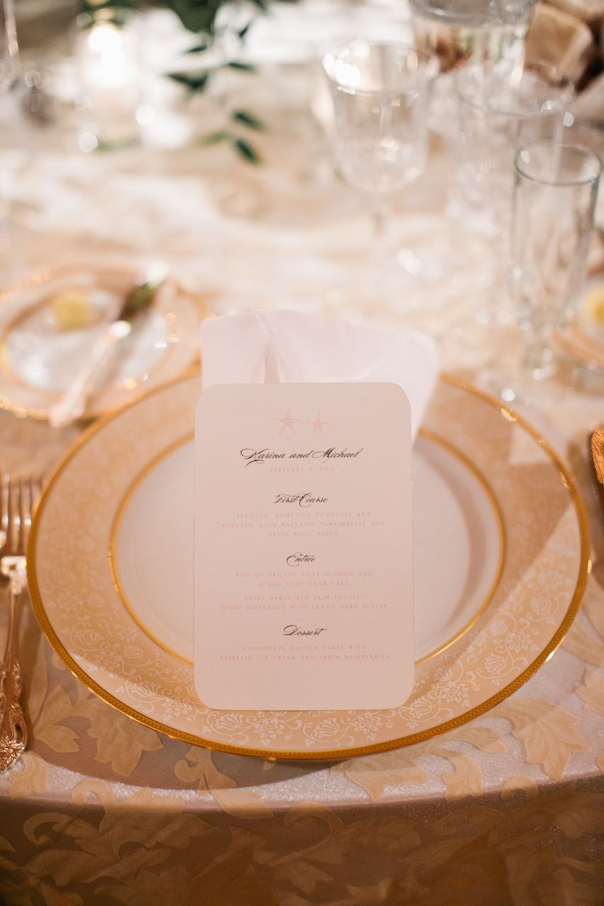 Reception, Stationery, Real Weddings, gold, Classic, Elegant, Florida, Place setting