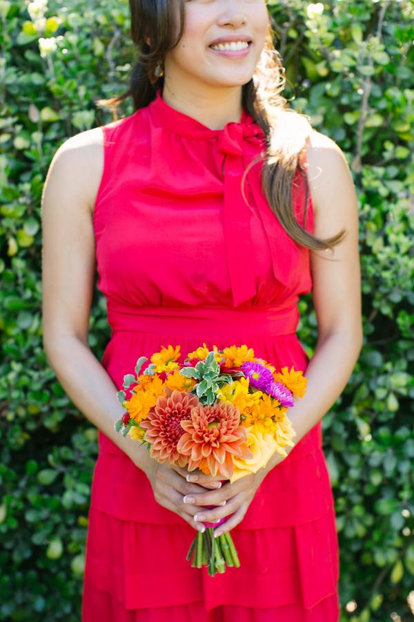 Flowers & Decor, Real Weddings, Wedding Style, orange, red, Bridesmaid Bouquets, Modern Real Weddings, Summer Weddings, Summer Real Weddings, Modern Weddings, West Coast Weddings