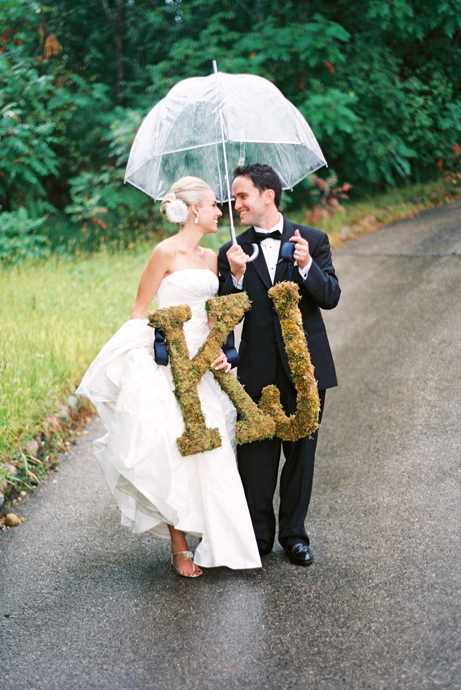 Real Weddings, Rustic, Bride and groom, Umbrella, Elegant, Monograms, Moss, Sophisticated