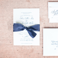 Calligraphy, Stationery, Real Weddings, Invitations, Elegant, Navy, Sophisticated