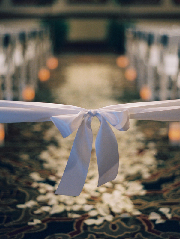 Ceremony, Real Weddings, Elegant, Ribbon, Aisle, Indoor, Rose petals, Sophisticated