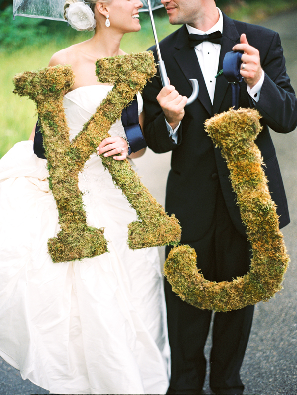 Real Weddings, Portrait, Monogram, Umbrella, Elegant, Moss, Sophisticated