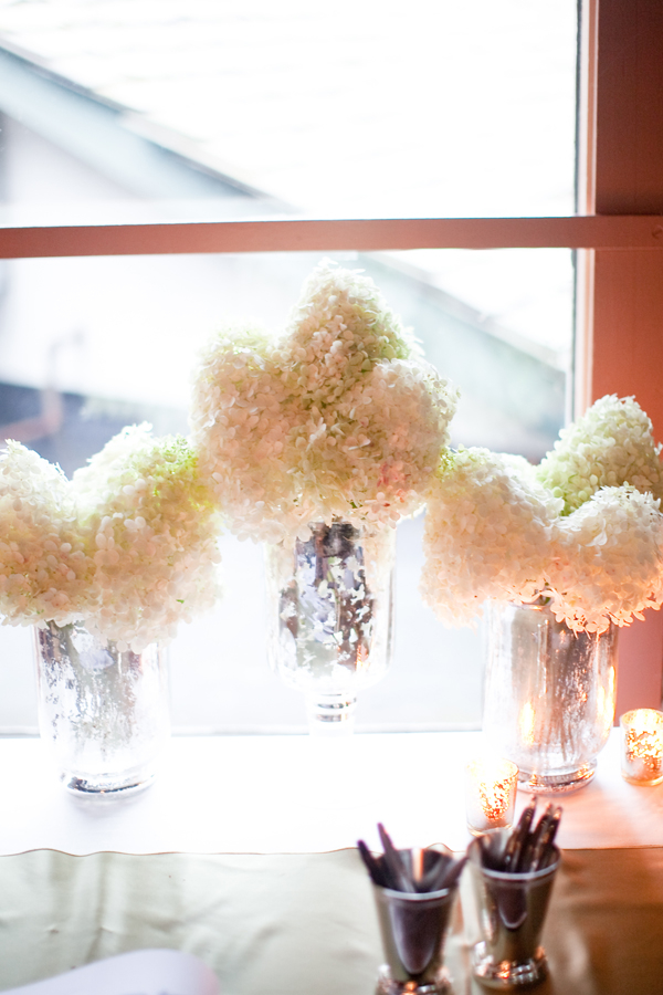 Reception, Flowers & Decor, Real Weddings, ivory, Elegant, Hydrangea, Metallic, Sophisticated