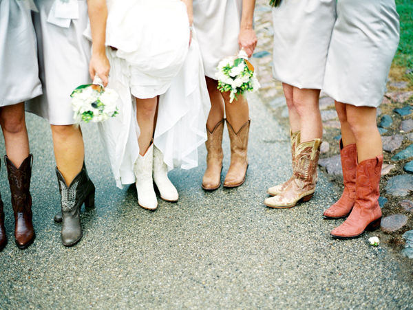 Bridesmaids, Real Weddings, Bridal party, Cowboy boots