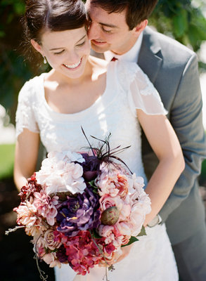 Flowers & Decor, Real Weddings, Wedding Style, pink, purple, Bride Bouquets, Spring Weddings, Midwest Real Weddings, Spring Real Weddings, Spring Wedding Flowers & Decor