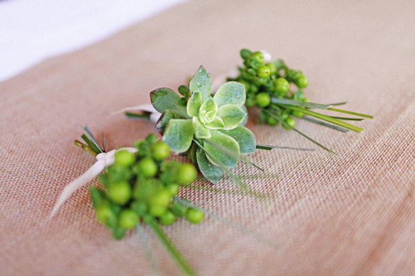 Flowers & Decor, Real Weddings, Wedding Style, green, Boutonnieres, Rustic Real Weddings, Midwest Real Weddings, Rustic Weddings, Eco-Friendly Wedding Flowers & Decor, Succulents