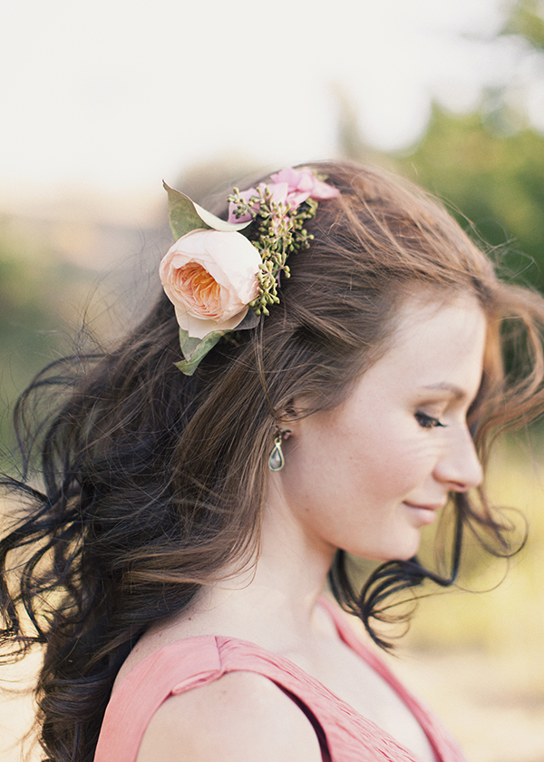 Beauty, Real Weddings, Wedding Style, pink, Makeup, Down, Long Hair, Rustic Real Weddings, Spring Weddings, Midwest Real Weddings, Spring Real Weddings, Vintage Real Weddings, Rustic Weddings, Vintage Weddings, Hair flower, hair flowers
