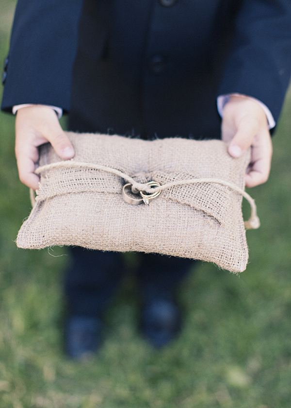 Flowers & Decor, Jewelry, Real Weddings, Wedding Style, brown, Engagement Rings, Rustic Real Weddings, Spring Weddings, Midwest Real Weddings, Spring Real Weddings, Vintage Real Weddings, Rustic Weddings, Vintage Weddings, Rustic Wedding Flowers & Decor, Burlap, Ring pillow, Tan