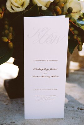 Stationery, Real Weddings, Wedding Style, Ceremony Programs, West Coast Real Weddings, Classic Real Weddings, Vineyard Real Weddings, Classic Weddings, Vineyard Weddings, Whtie