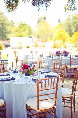 Real Weddings, Wedding Style, Summer Weddings, Summer Real Weddings, West Coast Real Weddings, Modern Weddings, Modern Real Weddings, Vintage Weddings, Vintage Real Weddings, Flowers & Decor, Centerpieces, Table settings, blue, pink, Vintage Wedding Flowers & Decor