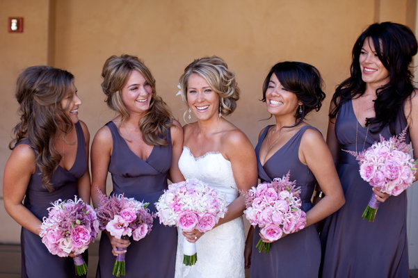 Flowers & Decor, Bridesmaids Dresses, Fashion, Real Weddings, Wedding Style, purple, Bridesmaid Bouquets, Spring Weddings, West Coast Real Weddings, Spring Real Weddings, Vineyard Real Weddings, Vineyard Weddings