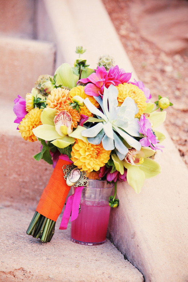 Flowers & Decor, Real Weddings, Wedding Style, orange, pink, Bride Bouquets, Modern Real Weddings, Summer Weddings, West Coast Real Weddings, Summer Real Weddings, Modern Weddings, Modern Wedding Flowers & Decor