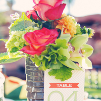 Flowers & Decor, Stationery, Real Weddings, Wedding Style, orange, green, Centerpieces, Table Numbers, Modern Real Weddings, Summer Weddings, West Coast Real Weddings, Summer Real Weddings, Modern Weddings, Modern Wedding Flowers & Decor