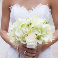 Flowers & Decor, Real Weddings, ivory, Bride Bouquets, West Coast Real Weddings, Classic Real Weddings, Classic Weddings, Classic Wedding Flowers & Decor, Roses, Orchids, bridal bouquet, West Coast Weddings, Monochromatic Wedding