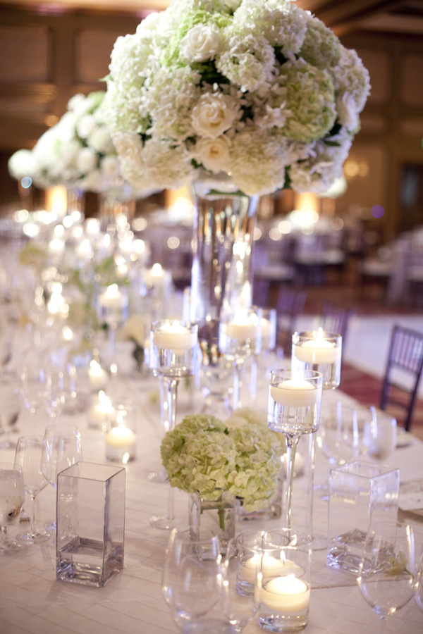 Reception, Flowers & Decor, Real Weddings, ivory, Centerpieces, Candles, West Coast Real Weddings, Classic Real Weddings, Classic Weddings, Classic Wedding Flowers & Decor, Candlelight, West Coast Weddings, Monochromatic Wedding