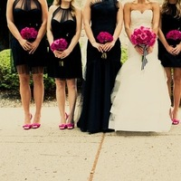 Real Weddings, pink, black, Bridesmaid Bouquets, Modern Real Weddings, Midwest Real Weddings, Modern Weddings, michigan weddings, michigan real weddings