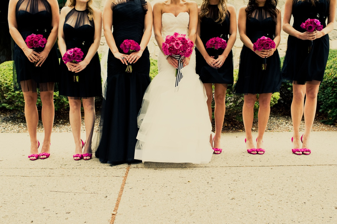 Real Weddings, pink, black, Bridesmaid Bouquets, Modern Real Weddings, Midwest Real Weddings, Modern Weddings