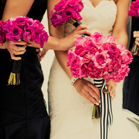 Flowers & Decor, Real Weddings, Wedding Style, pink, black, Bride Bouquets, Bridesmaid Bouquets, Modern Real Weddings, Midwest Real Weddings, Modern Weddings