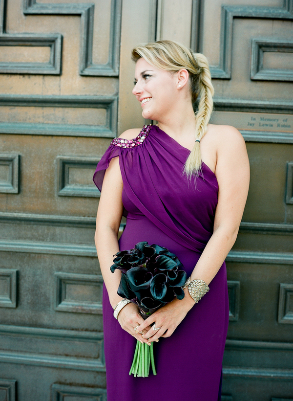 Bridesmaid Dresses, Fashion, Real Weddings, Wedding Style, purple, Fall Weddings, Modern Real Weddings, Southern Real Weddings, Fall Real Weddings, Glam Real Weddings, Glam Weddings, Modern Weddings, one-shoulder bridesmaid dresses