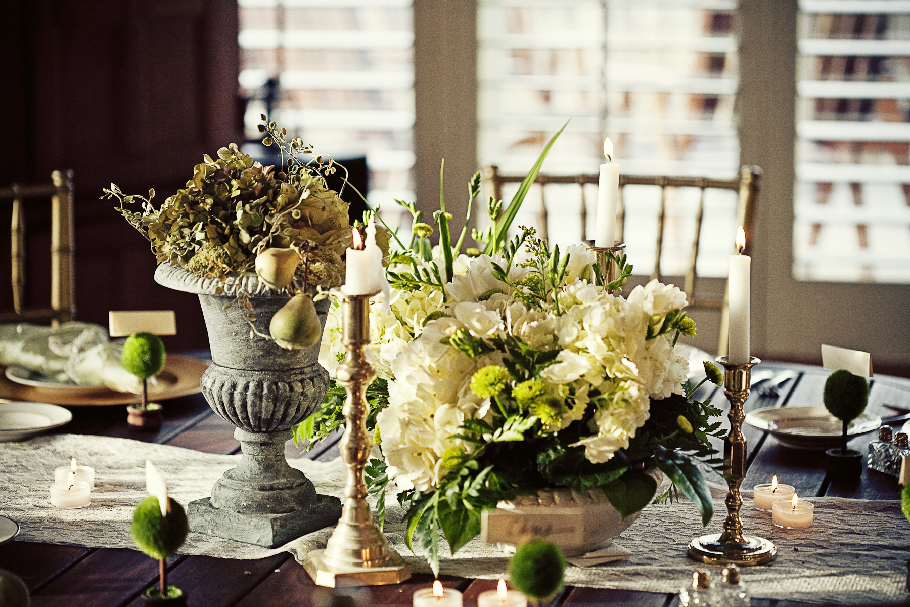 Flowers & Decor, Real Weddings, Wedding Style, ivory, green, gold, Candles, Fall Weddings, Rustic Real Weddings, Southern Real Weddings, Fall Real Weddings, Rustic Weddings, Fall Wedding Flowers & Decor, Rustic Wedding Flowers & Decor, Table settings, Centerpices