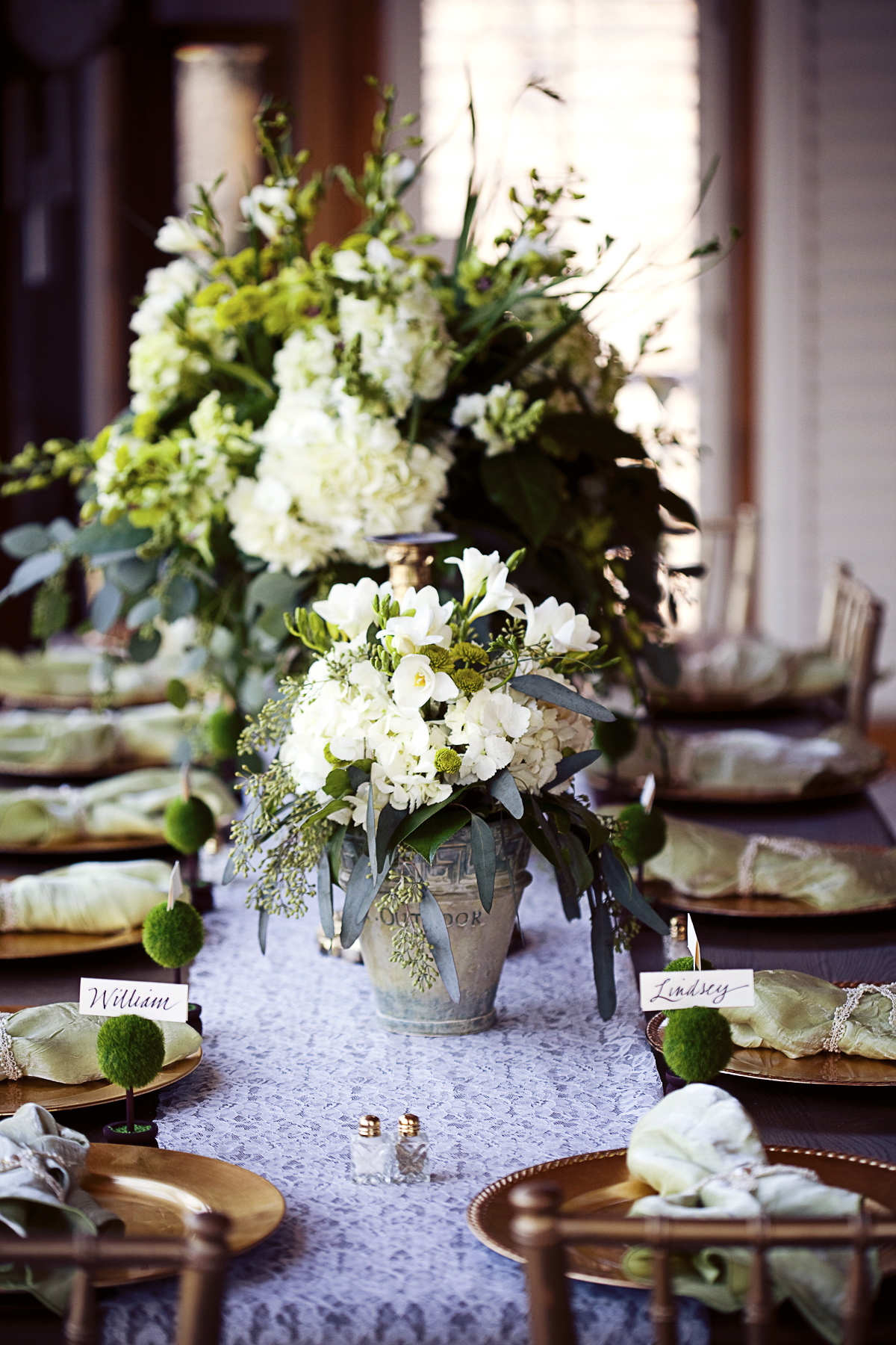Flowers & Decor, Stationery, Real Weddings, Wedding Style, ivory, green, Place Cards, Fall Weddings, Rustic Real Weddings, Southern Real Weddings, Fall Real Weddings, Rustic Weddings, Fall Wedding Flowers & Decor, Rustic Wedding Flowers & Decor, Table settings, Centerpices