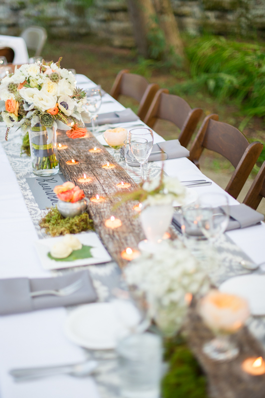 Reception, Flowers & Decor, Real Weddings, ivory, green, Candles, Rustic Real Weddings, Spring Weddings, Spring Real Weddings, Rustic Weddings, Grey, Peach, Moss, Wood, Candlelight, Ikat, Wisconsin Real Weddings, Wisconsin Wedding