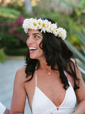 Beauty, Destinations, Real Weddings, Wedding Style, white, Down, Wavy Hair, Headbands, Destination Weddings, Mexico, Beach, Beach Real Weddings, Summer Weddings, Summer Real Weddings, Beach Weddings, Hair flower