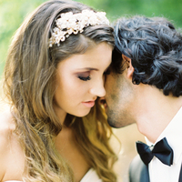 Beauty, Real Weddings, Wedding Style, Makeup, Wavy Hair, Headbands, West Coast Real Weddings, Garden Real Weddings, Garden Weddings, Romantic Real Weddings, Romantic Weddings