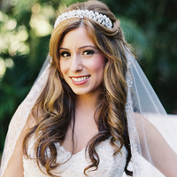 Beauty, Veils, Real Weddings, Wedding Style, Makeup, Half-up, Wavy Hair, Long Hair, Fair Complexion, Summer Weddings, West Coast Real Weddings, Classic Real Weddings, Glam Real Weddings, Summer Real Weddings, Classic Weddings, Glam Weddings