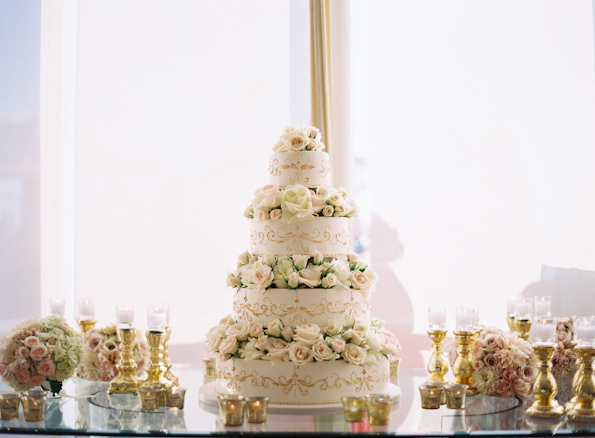 Flowers & Decor, Cakes, Real Weddings, Wedding Style, white, ivory, gold, Classic Wedding Cakes, Glam Wedding Cakes, Round Wedding Cakes, Wedding Cakes, Candles, Summer Weddings, West Coast Real Weddings, Classic Real Weddings, Glam Real Weddings, Summer Real Weddings, Classic Weddings, Glam Weddings, Glam Wedding Flowers & Decor